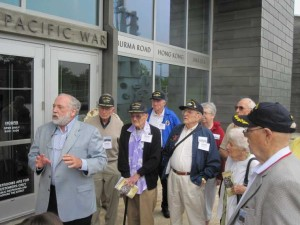Hadley Reunion attendees were greeted by the curator at the Museum of the Pacific War on 11 May 2012